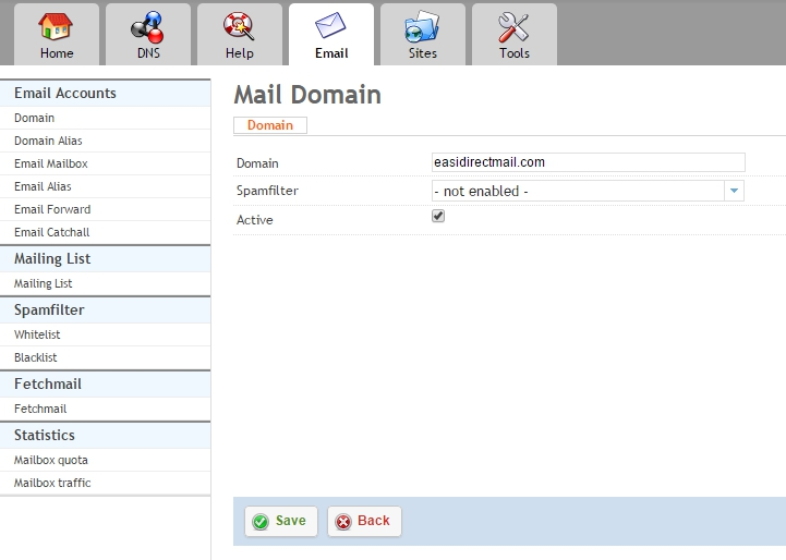 Add domain email